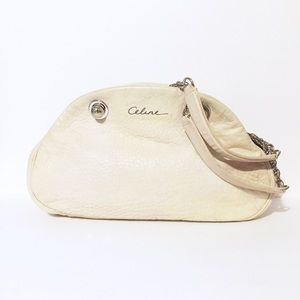 Celine cream leather chain strap shoulder bag